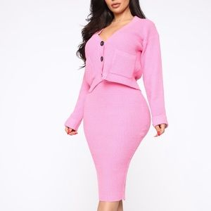 Two Piece Pink Skirt Set